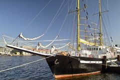 Sail training ship. In harbor Stock Photo