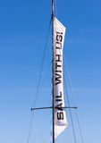 Sail with Us Sign on a Sailboat Royalty Free Stock Image