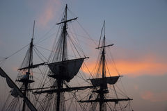 Sail vessel with dramatic sky royalty free stock images