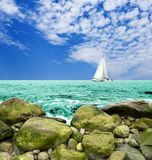 Sail yacht. In the sea Stock Image