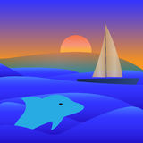 Sail Yacht Boat On See Vector Illustration. Sail Yacht Boat Dolphin See and Sunset Vector Illustration Stock Images