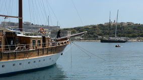 The sail yacht is in harbour. Sliema, Malta stock video footage