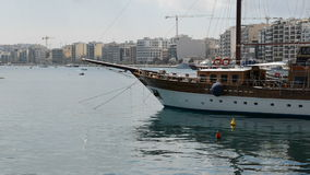 The sail yacht is in harbour. Sliema, Malta stock footage