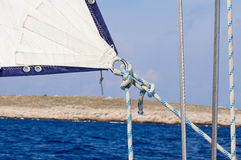 Sail. On a yacht in the open sea Royalty Free Stock Photos