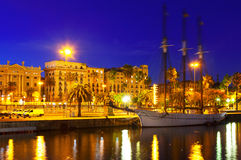 Sail yacht at Port Vell in evening. Barcelona Royalty Free Stock Image