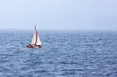 Sail Yacht at Sea Stock Photo