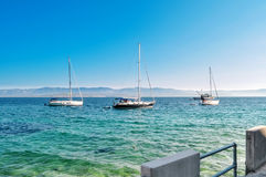 3 sail yachts in Mediterranean sea Stock Photo