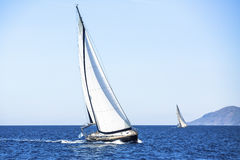 Sail yachts in regatta in open the Sea. Sailing regatta. Stock Images
