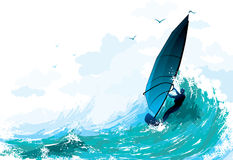sailboarding的例证 免版税库存图片