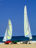 Sailboards on the beach. Boats holding for tourists at Hammamet beach, Tunisia Stock Photo