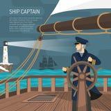 Sailboat καπετάνιος Nautical Flat Poster Στοκ Εικόνες