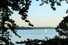 Sailboat στο νερό με τα δέντρα στο πρώτο πλάνο Στοκ Εικόνες