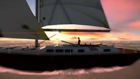 Sailboat στο ωκεάνιο βίντεο φιλμ μικρού μήκους