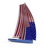 Sailboat το πανί που χρωματίζεται με ως αμερικανική σημαία Στοκ Εικόνες