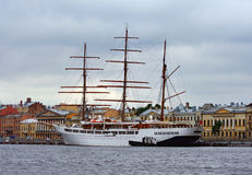 Sailboat. Sailing ship Sea Cloud II in St. Petersburg (Russia Stock Photos