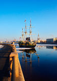 Sailboat. The sailing vessel moored to Petrogradskaya embankment of St.-Petersburg Royalty Free Stock Photography