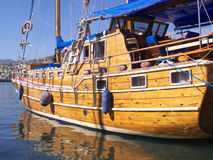 Sailboat. In the harbor in Bodrum Turkey. Ready for vacation travel Royalty Free Stock Images
