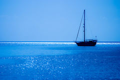 Sailboat. Anchored at Old Providence Island, Colombia Stock Photo