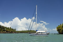 Sailboat. In the middle of the salvation islands, french Guyana Stock Photography