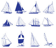 Sailboat. Drawing of many sailboats in a white background Stock Image