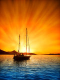 Sailboat. At sunset on the Adriatic Sea Royalty Free Stock Photo