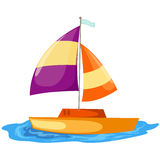 Sailboat. Illustration of isolated a sailboat gliding on white royalty free illustration