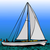 Sailboat. A sailboat under full sail gliding on the water vector illustration