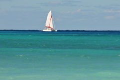 Sailboat. Sailing Catamaran Against Ocean Horizon Stock Photo