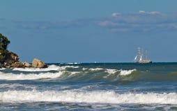 Sailboat. Kara dere - one of the still wild places on the Bulgarian coast Royalty Free Stock Photos