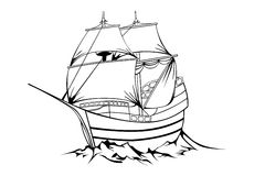 Sailboat. Vector black sailboat on white background Royalty Free Stock Photography