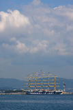 Sailboat. In Greek harbor,island of Corfu Stock Images