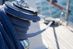 Sailboat. Lots of rope on deck of small sailboat Royalty Free Stock Photos