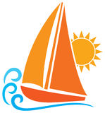 Sailboat. Stylized yacht, sailboat symbol, sailboat icon Stock Photos