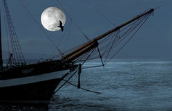 Sailboat. Over moon Royalty Free Stock Photo