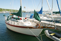 Sailboat. A Sailboat at the dock by the sea Stock Photography