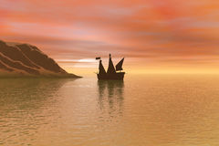 Sailboat. And sunset Royalty Free Illustration