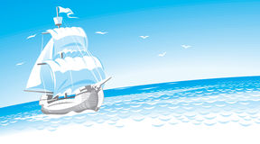 Sailboat. Hands vector graphics. Detailed illustration Royalty Free Stock Photography