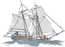 Sailboat. Old sailboat on blue ocean stock illustration