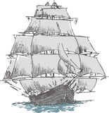 Sailboat. Old sailboat on the blue ocean vector illustration