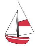 Sailboat. Red sailboat with white sails and detailing vector illustration