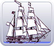 Sailboat. Illustration shows a saiboat with background Stock Image