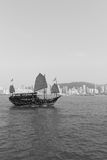Sailboat across Victoria Harbour Stock Photography