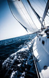 Sailboat in action. Extreme sport, luxury water transport, summer vacation, cruise in the sea, active lifestyle, travel and tourism concept stock photo