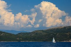Sailboat on Adriatic Stock Image