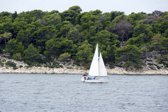 Sailboat in the Adriatic Sea near the island Rab Stock Photo