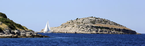 Sailboat in the adriatic sea Royalty Free Stock Photos