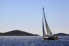 Sailboat in the adriatic sea Stock Images
