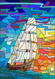 A sailboat against the sea and the rising sun, stained glass style. Illustration in stained glass style with sailboats against the sky, the sea and the sunrise Stock Photography