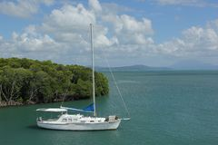 Sailboat. A sailboat at anchor between the mangroves at Port Douglas, Australia stock photo