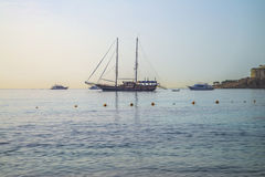 Sailboat at anchor in naama bay Royalty Free Stock Photography